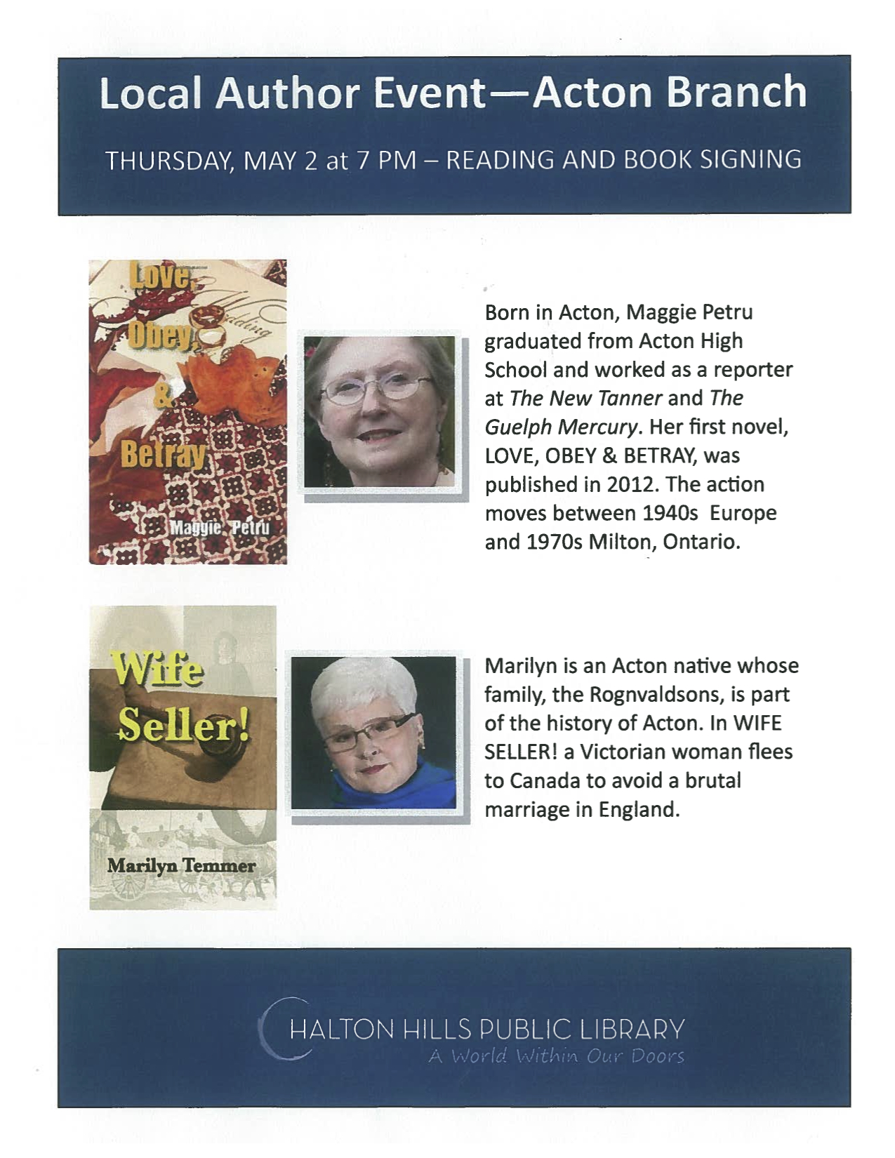Poster for 2 May 2013 Author reading